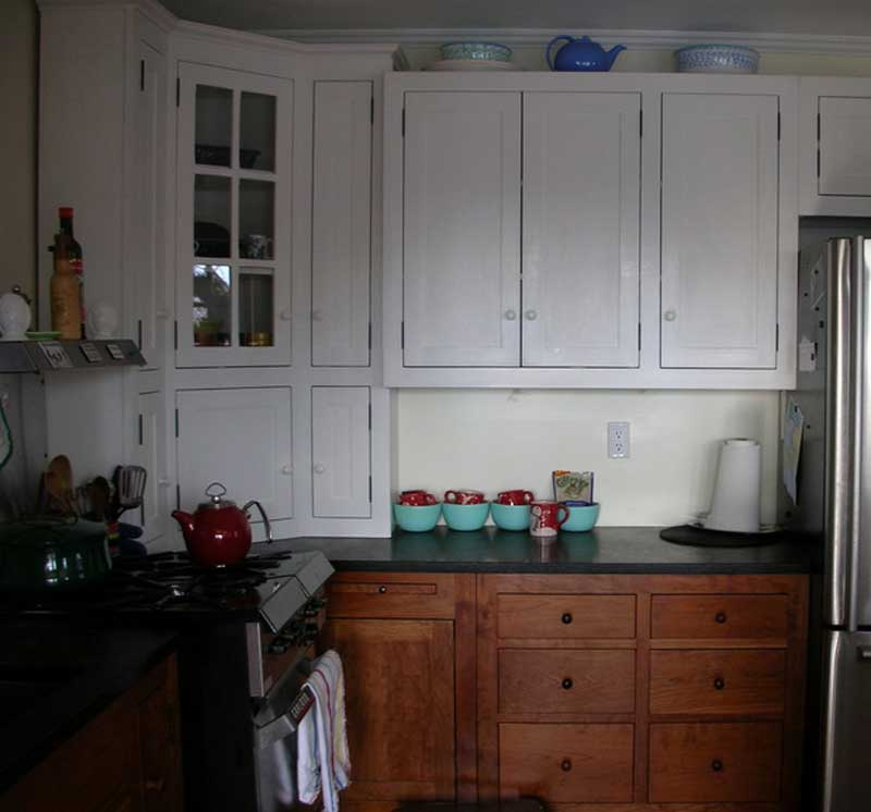 Small cherry white painted kitchen branch hill joinery for Cherry and white kitchen cabinets