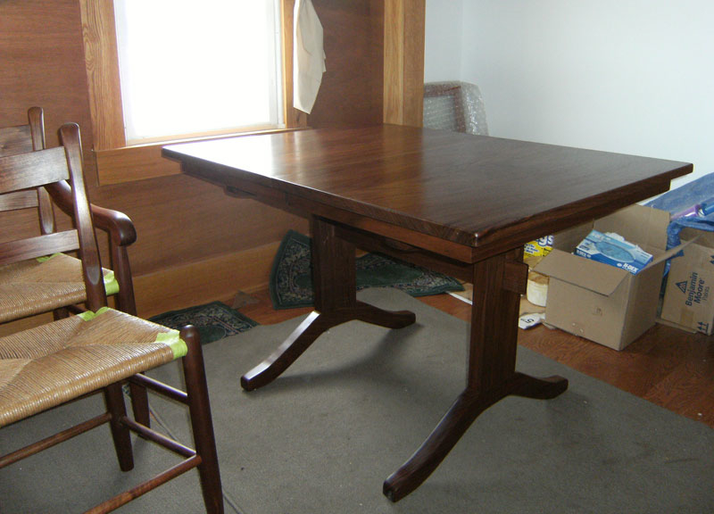 Small Walnut Trestle Table With Pull Out Leaves. Smalltrestletable